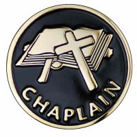 1 inch Dia. Chaplain w/Black Enamel Lapel Pin - (Pack of 2)