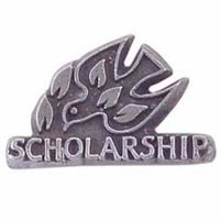 3/4 inch Pewter Scholarship Lapel Pin 1/4in. Post and Clutch Back 2Pk