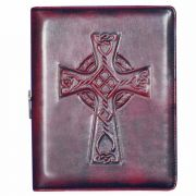 Celtic Cross Personal Leather Journal Elastic Band Secured