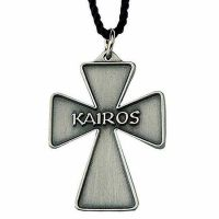 Antiqued Silver Plated Kairos Cross Necklace w/33in. Black Cord - 2Pk