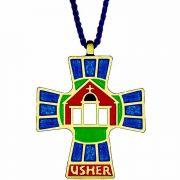 Bronze & Enamel Usher/Hospitality Pendant w/Cord - (Pack of 2)