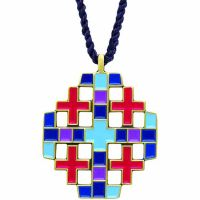 Bronze Jerusalem Cross Pendant Necklace w/Cord - (Pack of 2)