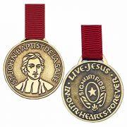 Bronze Saint John Baptist De Lasalle Bookmark w/Red Ribbon - 2Pk