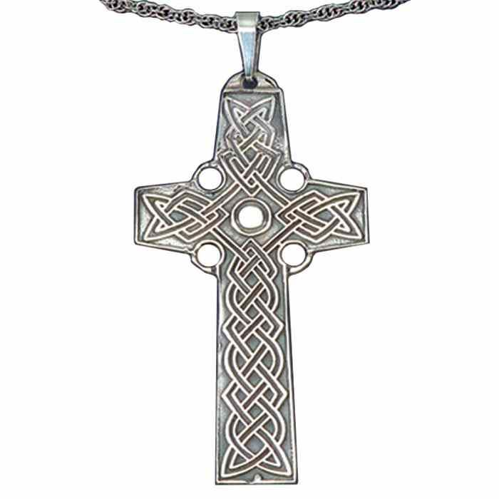 5c1a5b2856d14f Necklaces : Celtic Sterling Silver Cross Necklace on Chain