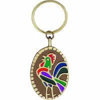 Cockcrow / De Colores Bronze w/Color Enamel Key Tag - (Pack of 2)