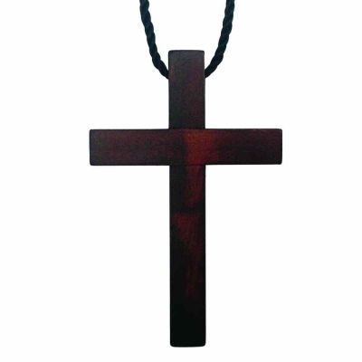 Custom Engraved Dark Olive Wood Cross Necklace w/33in. Black Cord 2Pk -  - P-29