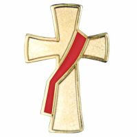 Deacon Gold Plated & Red Enameled Cross Lapel Pin - (Pack of 2)