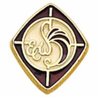 Episcopal Church Woman Gold & Burgundy Enameled Lapel Pin - 2Pk