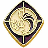Episcopal Church Women Gold & Burgundy Enameled Lapel Pin - 2Pk