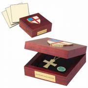 Episcopal Keepsake Box Wood w/ Gold Plate Shield