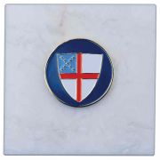 Episcopal Shield 3x3in. Carerra Marble Base Paperweight - (Pack of 2)