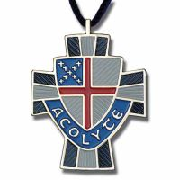 Episcopal Shield Acolyte Enameled Colors on Bronze Pendant - 2Pk