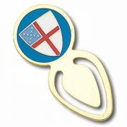 Episcopal Shield Bookmark Clip Type, Gold Plated with Colors - 2Pk