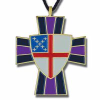 Episcopal Shield Enameled Colors on Bronze Pendant w/Cord - 2Pk