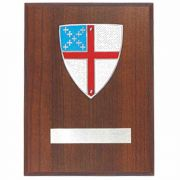 Episcopal Shield Medallion Wall Plaque Pewter