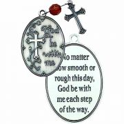 God Be w/Me Pocket Prayer Token w/Cross & Amber Crystal Bead - 2Pk