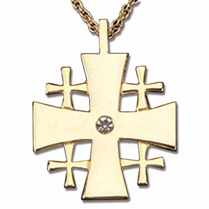 Kairos Necklace: Necklaces : Gold Plated Jeweled Jerusalem Cross Necklace