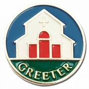 Greeter Gold Plated/Enameled Lapel Pin - Blue, Red, White/Green 2Pk
