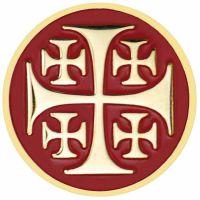 Jerusalem Cross Red Enameled Lapel Pin 1/4in. Post - Clutch Back 2Pk