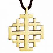 Jerusalem Polished Bronze Cross Pendant w/Brown Cord - (Pack of 2)