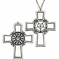 Luther Rose 3in. Pectoral Community Cross Necklace w/Chain