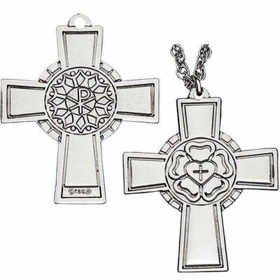 Luther Rose Pectoral Cross Necklace - Sterling Silver -  - P-144-S