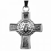 Luther Rose Stainless Steel Confirmation Cross Necklace