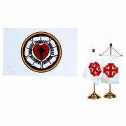 Lutheran Banner Desk Brass Stand & 5x7 Polyester Flag - 2Pk