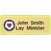 Lutheran Ministry Church Gold Plated Badge Large, Easy to Read (2 Pk)
