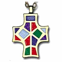 Monogram of Christ Enameled Colors on Bronze Pendant w/Cord - 2Pk