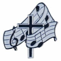 Musical Notes Black Silver Plated - Wite Enameled Cross Lapel Pin 2Pk