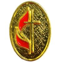 Oval United Methodist Church Cross & Flame Lapel Pin - (Pack of 2)