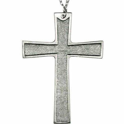 Pewter 4 1/4in. Pectoral Cross Necklace w/Chain -  - 1597