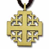 Polished Bronze New Jerusalem Cross Pendant w/33in. Brown Cord - 2Pk