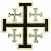 Polished Bronze New Jerusalem Wall Cross w/Black & Silver