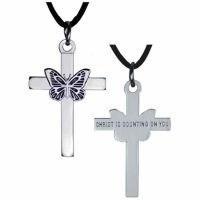 Silver Plated Chrysalis Cross Necklace w/Cord - (Pack of 2)