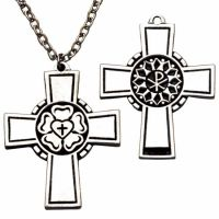 Small Pectoral Cross Necklace w/Luther's Seal w/Chain - (Pack of 2)