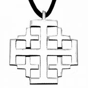 Stainless Steel Jerusalem Cross Necklace w/Cord