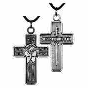 Traditional Antiqued Silver Plated Chrysalis Cross w/Cord - 2Pk