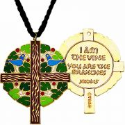 Tree of Life Gold Plated w/Cloisonne Colors Pendant w/Cord - 2Pk