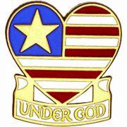 Under God Enameled Lapel Pin 1/4in. Post & Clutch Back - 2Pk