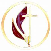 United Methodist Church Cross & Flame Cutout Lapel Pin - 2Pk
