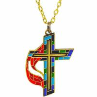 United Methodist Church Stained Glass Cross Enameled Colors - 2Pk