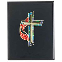 United Methodist Stained Glass Patterned Cross Plaque