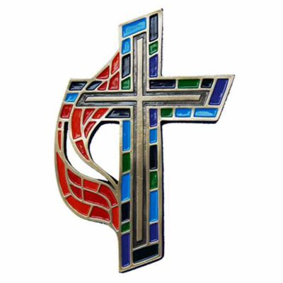 United Methodist Wall Cross - Enameled Colors on Bronze -  - 109