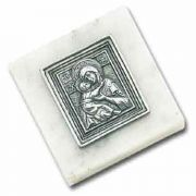 Vladimir Icon Paperweight 3 x 3 Carrara Marble Base - (Pack of 2)