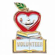 Volunteer Church Lapel Pin w/Red, White & Green Enamel - 2Pk
