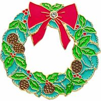 Wreath Gold Plated / Enameled Lapel Pin 1/4in. Post/ Clutch Back 2Pk