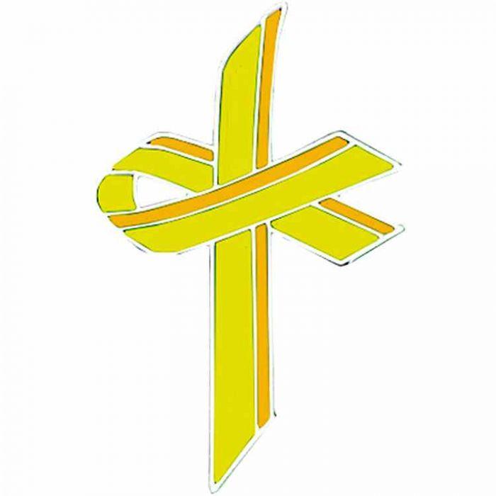 Yellow Awareness Ribbon Cross Lapel Pin - Adenosarcoma - (Pack of 2)
