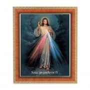 Spanish Divine Mercy In A Tiger Cherry Frame w/Carved Gold Edges